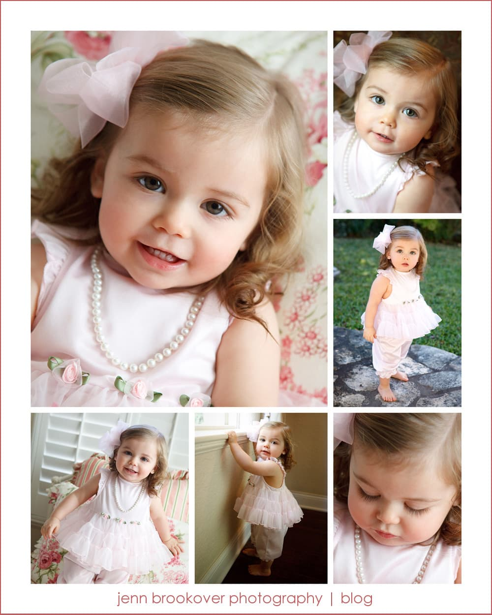 one year portraits of baby girl on her birthday in pink at home in San Antonio, Texas