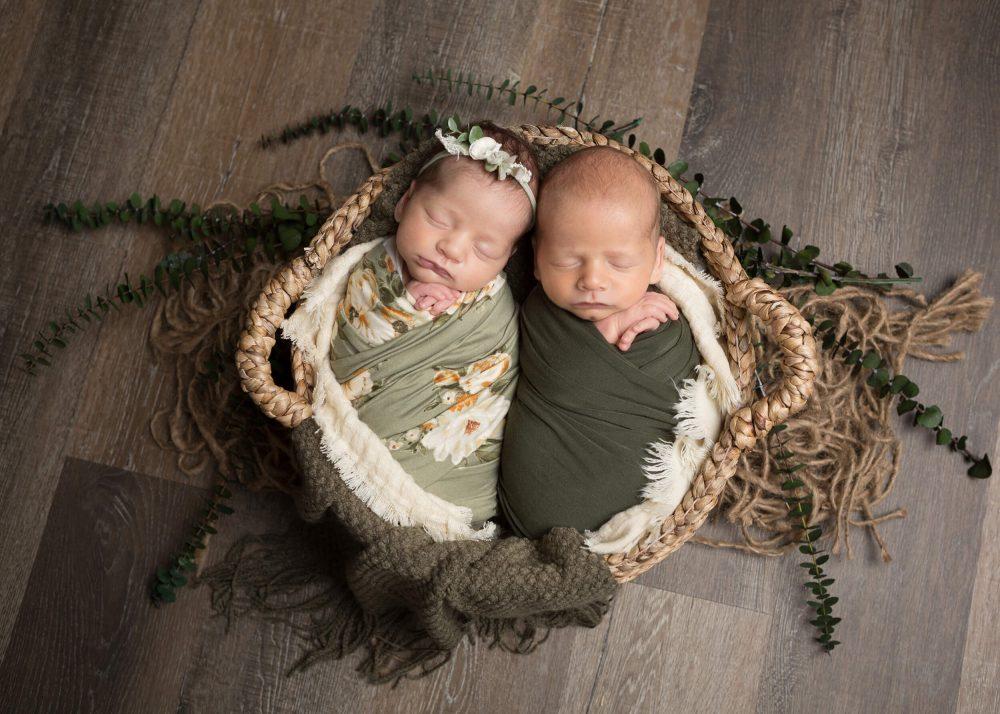 newborn twins in basket san antonio newborn photographer